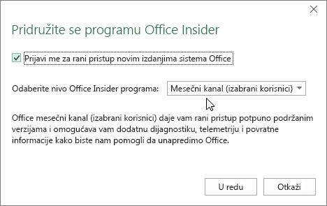 """Dijalog za pridruživanje programu Office Insider sa opcijom nivoa """"Mesečni kanal (izabrani korisnici)"""""""
