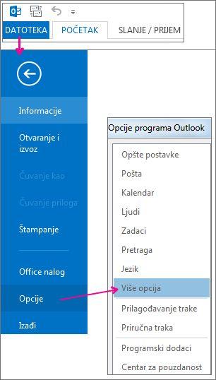 Datoteka > Opcije > Više opcija
