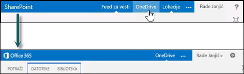 Biranje programa OneDrive u sistemu SharePoint radi otvaranja programa OneDrive for Business u sistemu Office 365