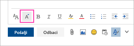 Snimak ekrana dugmeta veličine fonta