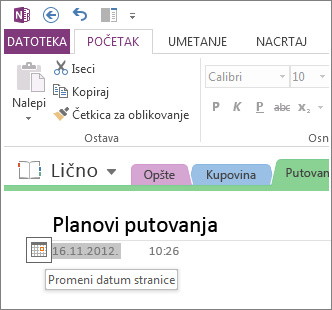 Promena datuma kreiranja stranice.