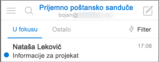 Slika kako Outlook izgleda na iPhone uređaju.