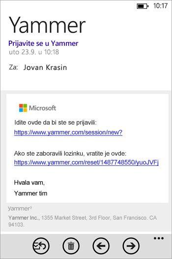 E-poruka za upisivanje