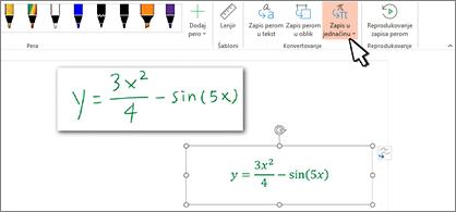 Rukom pisana jednačina i ista jednačina konvertovana u oblikovani tekst i brojeve