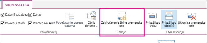 Zadatak vremenske ose zaključavanje širine opcija na kartici vremenska osa