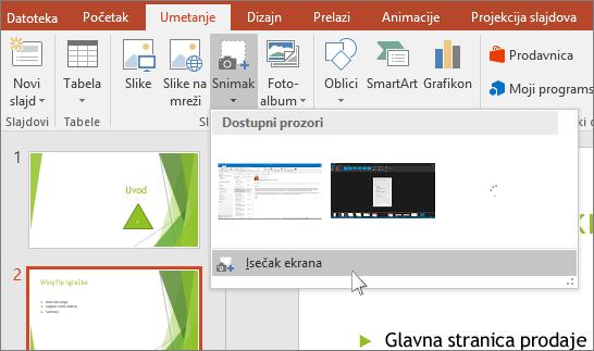 isečak ekrana sa padajućim menijem u programu powerpoint