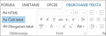 "Opcije formata poruke na kartici ""Oblikovanje teksta"""