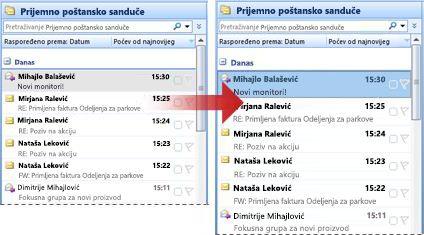 Font reda liste poruka povećana od 8 tačke na 10 tačaka