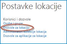 """Snima ekrana skupa opcija na stranici """"Postavke lokacije"""" koji prikazuje vezu """"Osobe i grupe"""""""