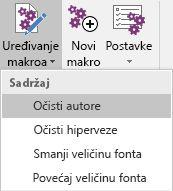 """Meni """"Uređivanje makroa"""" u programskom dodatku Onetastic za OneNote"""