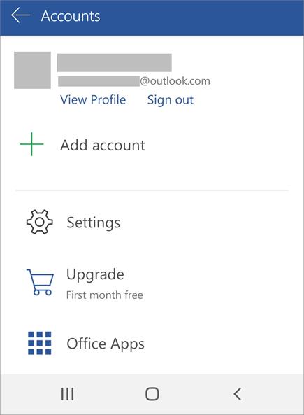 Prikazuje opciju za odjavljivanje iz sistema Office na Android uređaju