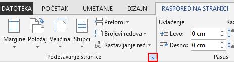"""Na kartici RASPORED NA STRANICI, ikona """"Podešavanje stranice"""" u donjem desnom uglu otvara prozor """"Podešavanje stranice""""."""