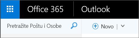 Ovako izgleda Outlook traka na vebu.