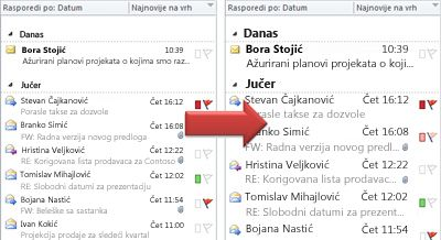 Ilustracija povećavanja veličine fonta liste poruka