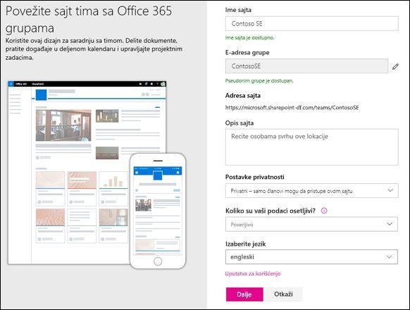 Kreiranje SharePoint sajta tima