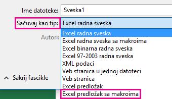 Odaberite stavku Excel predložak sa makroima.