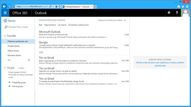 Kad uvezete e-poštu iz pst datoteke, pošta će se pojaviti i u programu OWA