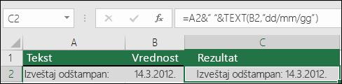 Primer spajanja teksta pomoću funkcije TEXT
