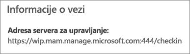 """Stranica """"Upravlja"""" prikazuje URL adresu informacija o vezi koji sadrži reči """"mam"""" i """"wpi""""."""