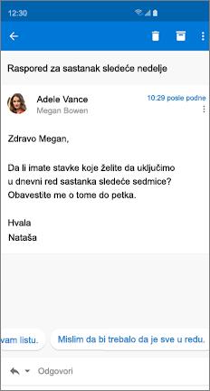 E-poruka sa dva predložena odgovora