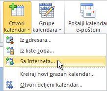 """Komanda """"Otvori kalendar sa interneta"""" na traci"""