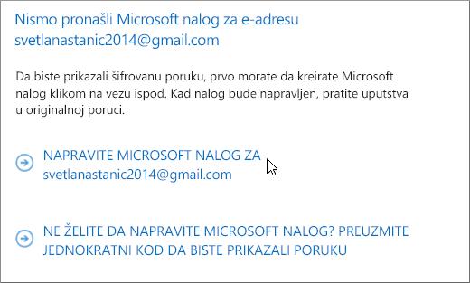 Kreiranje Microsoft naloga