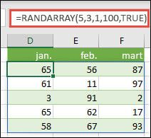 Funkcija RANDARRAY sa argumentima Min, Max i Whole number