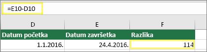 Ćelija D10 sa 1/1/2016, ćelija E10 sa 4/24/2016, ćelija F10 sa formulom: =E10-D10 i rezultatom 114
