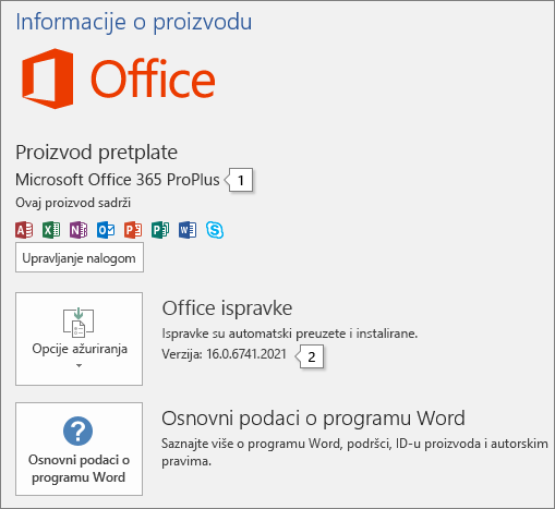 """Snimak ekrana stranice """"Nalog"""" koji prikazuje ime Office proizvoda i broj pune verzije"""
