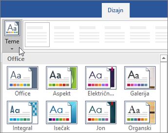 Opcije za teme na traci programa Word