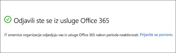Office 365 odjavljeni zbog neaktivnosti poruke