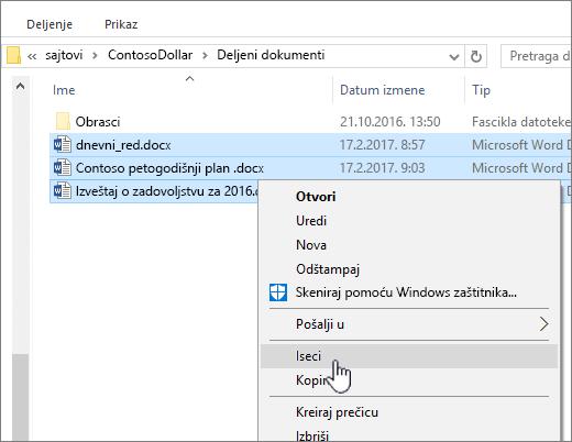 Kliknite desnim tasterom miša i izaberite stavku iseci da biste premestili datoteku