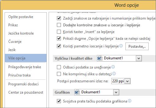 Veličina i kvalitet slike opcije u programu Word
