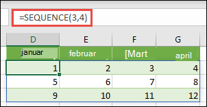 Kreiranje 3 reda pomoću 4 konstante kolone sa = sekvenca (3, 4)