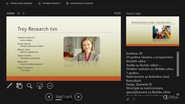 Prikaz za izlagača u programu PowerPoint 2016, sa krugom oko beležaka govornika
