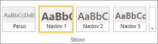 "Snimak ekrana grupe ""Stilovi"" SharePoint Online trake sa izabranim stilom ""Naslov 1""."