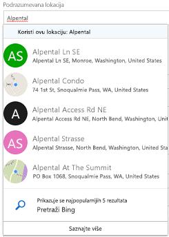 Predloženih lokacija biće vam ponuđena kroz Bing