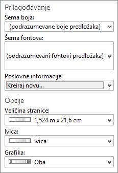Snimak ekrana programa Publisher prilagodite i opcije izbore.