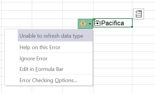 ToolTip displaying a Data Type refresh error