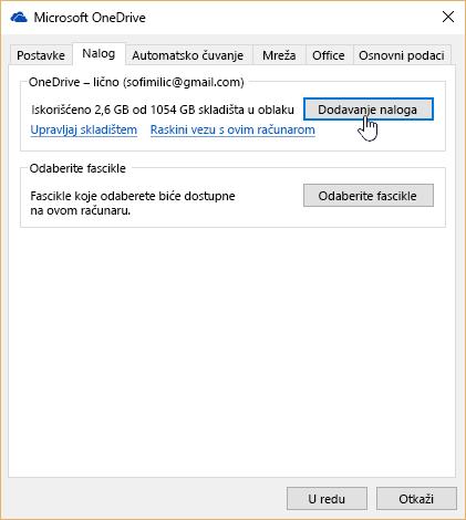 U postavkama usluge OneDrive na karticu nalog.