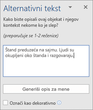 "Dijalog ""Alternativni tekst"" u programu Word za Windows"