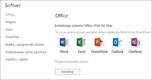Ekran za instaliranje softvera Office 365 postavki na Mac računaru