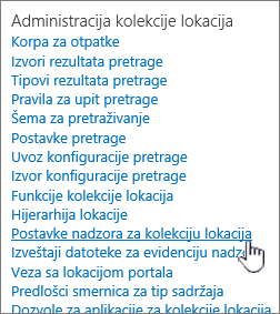 Postavke nadzora kolekcije lokacija izabrane u dijalogu postavke sajta.