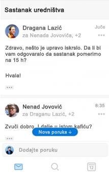 Novi utisak pri radu sa razgovorima u programu Outlook za iOS