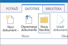 """Kartica """"Datoteka"""" na traci sa markiranim dugmetom """"Nova fascikla"""""""