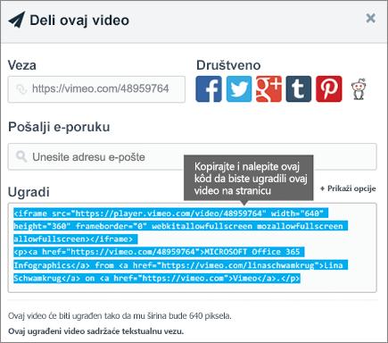 Primer korišćenja ugrađeni kôd za ugradnju sadržaja na SharePoint stranici