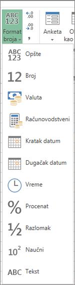 Dostupni formati brojeva