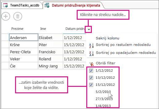 Filtriranje kolone u upitu u Access aplikaciji.