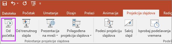 """Prikazuje dugme """"od početka"""" na kartici """"Projekcija slajdova"""" u programu PowerPoint"""