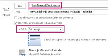"Poziv za spoljno deljenje e-pošte iz poštanskog sandučeta – podešavanje polja ""Za"" i stavke ""Detalji"""